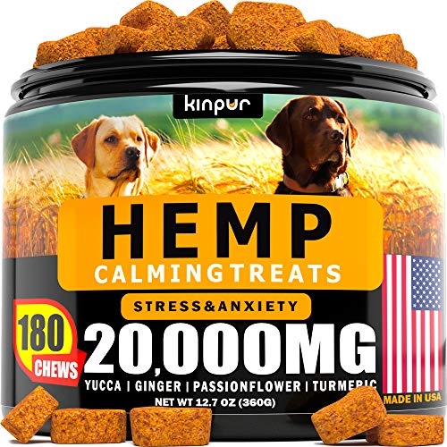 Hemp Dog Chews and Calming Treats for Dogs with Anxiety and Stress – Natural Calming Aid – Separation – Fireworks – Storms – Aggressive Behavior – 180 Calming Chews for Dods for Hip and Joint Health