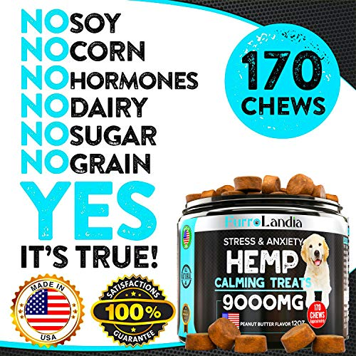 FurroLandia Hemp Calming Treats for Dogs – 170 Soft Chews – Made in USA – Hemp Oil for Dogs – Dog Anxiety Relief – Natural Calming Aid – Stress – Fireworks – Aggressive Behavior (Peanut Butter Flavor)
