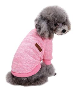 Fashion Focus On Pet Dog Clothes Knitwear Dog Sweater Soft Thickening Warm Pup Dogs Shirt Winter Puppy Sweater for Dogs (Pink, S)