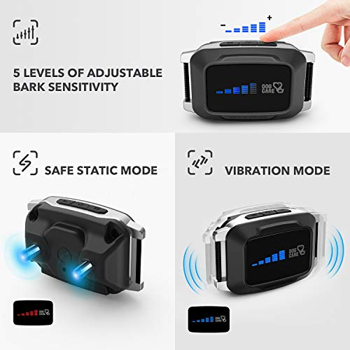 Rechargeable Bark Collar for Dogs – Dog Bark Collar w/2 Vibration and Static Modes, Auto 7 Levels Static Modes, LED Indicator, No Bark Collar for Small Medium Large Dogs, Safe and Humane