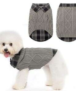 Warm Dog Sweater Winter Clothes – Plaid Patchwork Pet Doggy Knitted Sweaters Comfortable Coats for Cold Weather, Fit for Small Medium Large Dogs
