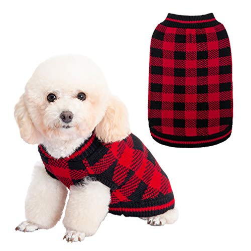 Plaid Dog Sweater Winter Clothes – Knitwear Soft Baseball Shirt Design for Small Medium Large Dogs Cold Days Wearing