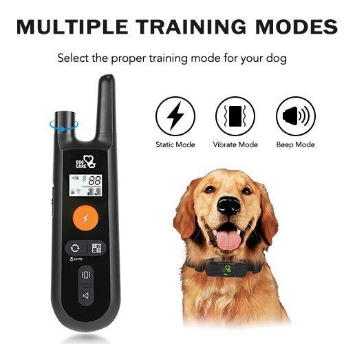Dog Training Collar – Rechargeable Dog Shock Collar with Beep, Vibration and Shock Training Modes, Rainproof Training Collar, Long Remote Range, Adjustable Shock Levels Dog Training Set