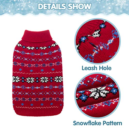 Classic Snowflake Dog Sweater – Soft Thickening Dog Cat Warm Coat Apparel, Winter Knitwear Pet Clothes for Cold Weather