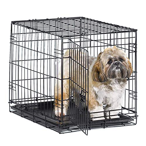New World 24″ Folding Metal Dog Crate, Includes Leak-Proof Plastic Tray; Dog Crate Measures 24L x 18W x 19H Inches, For Small Dog Breed