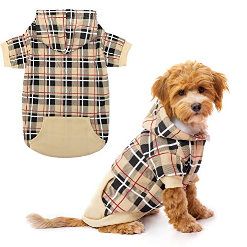 EXPAWLORER Plaid Dog Hoodie – British Style Plaid Pet Sweaters with Hat for Small Medium Large Dogs