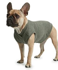 ESPAWDA Casual Stretch Comfort Cotton Dog Sweatshirt Sweater Vest for Small Dogs, Medium Dogs, Big Dogs (Small, Olive)