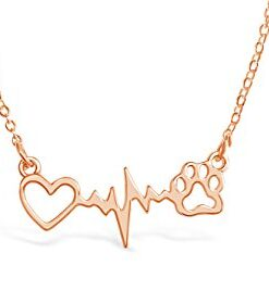 Rosa Vila Dog Paw Heartbeat Necklace, Dog Necklace, Veterinarian Gifts for Women, Dog Jewelry, Dog Paw Necklace, Dog Gifts for Women, Dog Lover Necklaces, Vet Tech Gifts (Rose Gold Tone)