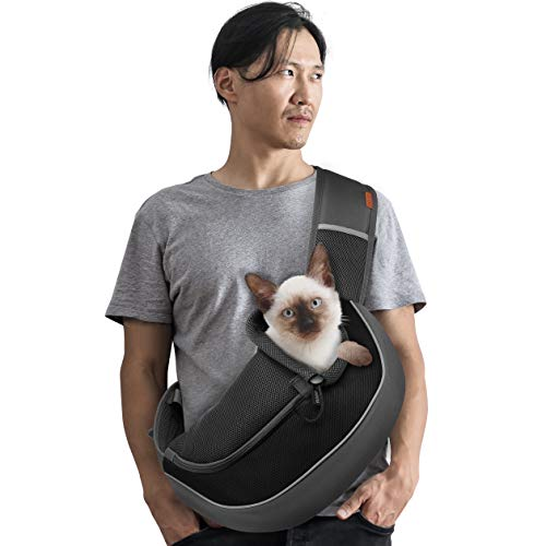 FDJASGY Pet Sling Carrier for Small Dogs Cats,Breathable Mesh Travelling Hand Free Puppy Backpack with Pouch and Adjustable Strap Carrier