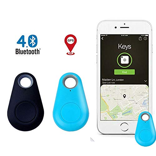 Smart GPS Tracker, Key Finder, Locator, Wireless Anti-Lost Alarm Sensor Device, Used for Phone, Keychain, Wallet, Luggage, pet cat and Dog Tracker, Selfie Shutter 2 pcs Black+Blue (2 pcs Blue+Black)