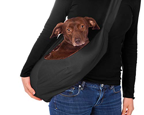 iPrimio Dog and Cat Hands Free Carrier Sling – Reversible Carrier Bag Papoose. Super Soft Pouch and Tote. Great Dog and Puppy Carrier/Cat Carrier. Front Pack and Purse Design (Black)