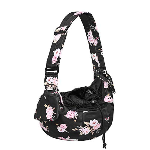 Petmolico Pet Dog Sling Carrier, Hands Free Breathable Mesh Adjustable Dog Cat Puppy Bag with Zipper Pocket for Daily Walk, Travel Outdoor Activity and Weekend Adventure, Pink Rose