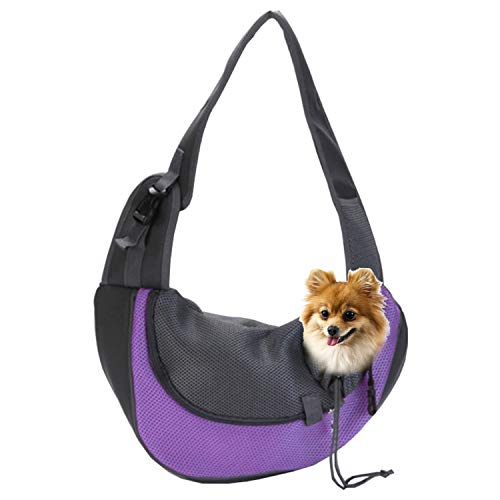 EVBEA Dog Carrier Sling Front Pack Puppy Carrier Purse Breathable Mesh Travel for Small or Medium Pet Dogs Cats Sling Bag