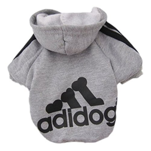 Idepet Soft Cotton Adidog Clothes Hoody for Dog, L, Grey
