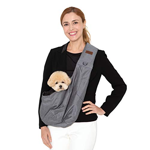RETRO PUG Dog Sling Carrier for Small and Medium Dogs,Cat – Pet Sling Carrier – Travel Puppy Carrying Bag – Doggie Pouch – Adjustable Shoulder Strap – Tote Purse – Chest Holder – 15~20 lbs