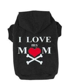 EXPAWLORER Dog Hoodie Black – Fleece Sweatshirt Hoodies Love Mom Costumes for Small to Large Dogs