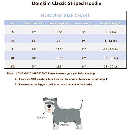 Domkim 100% Cotton Striped Sport Dog Jacket Pet Sweater for Dog Cat Puppy Hoodies Warm Sweatshirt Dog Clothes for Winter Outfits Pet Jackets for Small Dogs 20lbs (Blue Striped, XL)