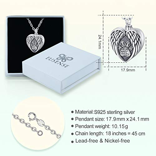 Eusense Sterling Silver Pet Cremation Jewelry Pet Urn Necklace for Dogs Cats Ashes Keepsake Paw Heart Locket Necklace That Holds Pictures