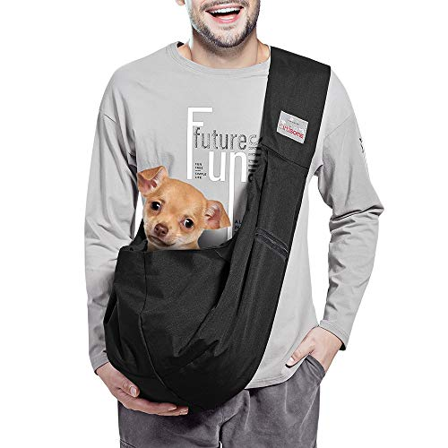 artisome Reversible Medium Dogs Cats Sling Carrier Bag Purse Travel Hand-Free Pet Backpack (Black 8-15 lbs)