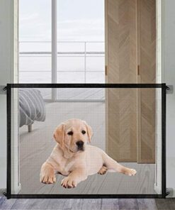 Magic Dog Gate -Queenii Pet Baby Safety Guard Gate, Portable Folding Mesh Magic Gate Baby Safety Gates Install Anywhere, Safety Fence for Hall Doorway Wide 41.2″-Black