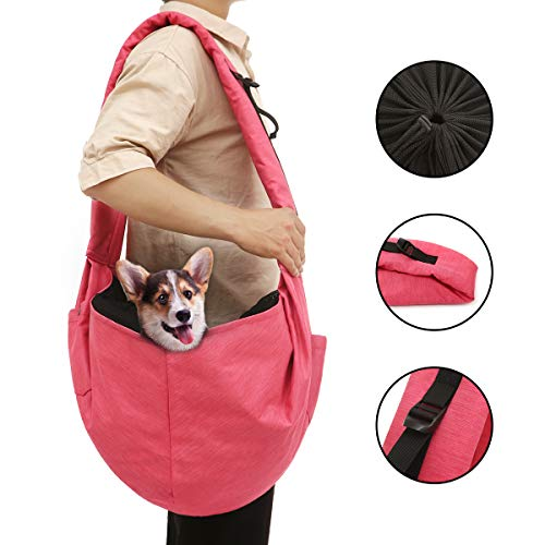 KINMBRA pet Sling Carrier for Dog cat up to 18 pounds Waterproof Tote Papoose Adjustable Padded Shoulder Strap with 3 Pockets for Outdoor Indoor Activity Weekend Travel(Rose red)