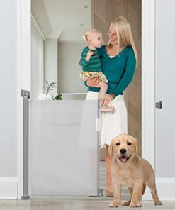 Baby Gate Retractable, Queenii Pet Mesh Dog Gate Safety Guard Install Anywhere, Safety Fence for Hall Stair Doorway Magic Gate Extends up to 54″-Grey