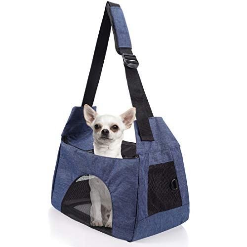 COOLBEBE Upgraded Pet Dog Sling Carrier for Small Medium Dogs Cats up to 15~17lbs, Hands-Free Pet Puppy Travel Bag, Blue