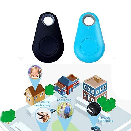 2 pcs Black+Blue GPS Tracker Collar Bluetooth Dog cat Key Wallet Bag Child Anti-Lost Child Tracker pet Smart Mini Waterproof Finder Wearable Device Selfie Shutter Tracking Device (2 pcs Black+Blue)