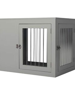 LINLUX Wire Dog Crate Kennel Cage with Double Lockable Doors, Decorative Medium Large Pet Crate End Table, Wood Furniture Dog Cave House, Indoor, Chew-Proof (Grey)