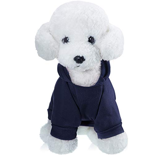 2 Pieces Winter Dog Hoodie Warm Small Dog Sweatshirts with Pocket Cotton Coat for Dogs Clothes Puppy Costume (Dark Blue, Wine Red, S)