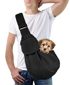 Lukovee Pet Sling, Hand Free Dog Sling Carrier Adjustable Padded Strap Tote Bag Breathable Cotton Shoulder Bag Front Pocket Safety Belt Carrying Small Dog Cat Puppy Machine Washable (New Black)