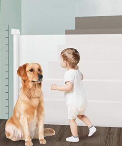 Retractable Baby Gate, Magic Dog Gate Mesh Safety Gate for Babies and Pets, Extra Wide Safety Baby Gate 34″ Tall, Extends to 59″ Wide, Flexible Gate for Indoor/Outdoor/Stairs/Doorways/Hallways (WHITE)