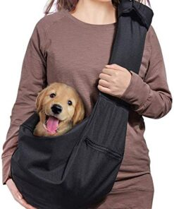 AOFOOK Dog Cat Sling Carrier, Adjustable Padded Shoulder Strap, with Zipper Pocket for Outdoor Travel (Black)