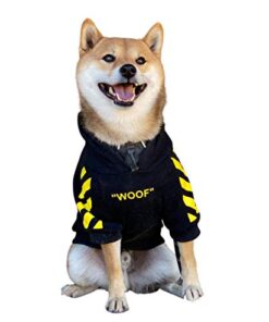 ChoChoCho Woof Dog Hoodie Pet Clothes Stylish Streetwear Cotton Sweatshirt Fashion Outfit for Dogs Cats Puppy Small Medium Large (S, Black with Yellow Stripe)