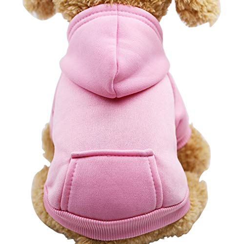 Fashion Focus On New Winter Dog Hoodie Sweatshirts with Pockets Cotton Warm Dog Clothes for Small Dogs Chihuahua Coat Clothing Puppy Cat Custume (Small, Pink)