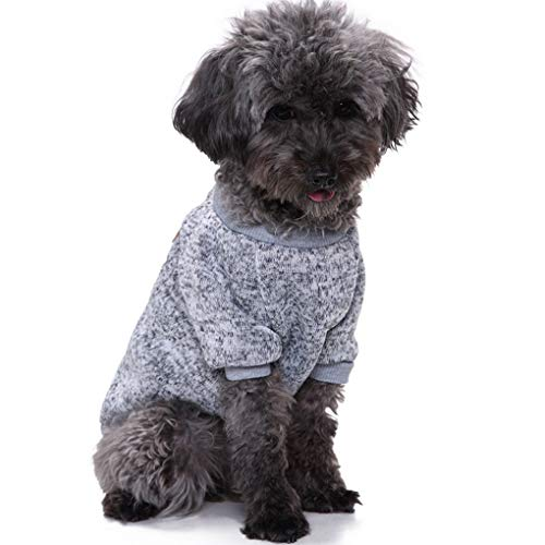 CHBORLESS Pet Dog Classic Knitwear Sweater Warm Winter Puppy Pet Coat Soft Sweater Clothing for Small Dogs (M, Grey)
