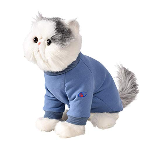 BinetGo Dog Sweatshirt Pet Clothes Cotton Knitted Winter Warm Soft Sweatshirt for Puppy Small Medium Dogs Sweater with Velvet Lining and Eye Embroidery (XL, Blue)