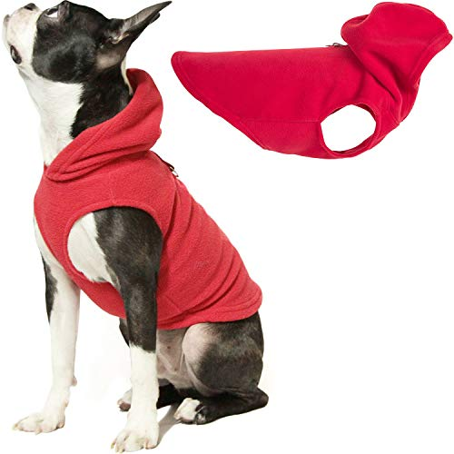 Gooby Dog Hoodie Fleece Vest – Red, Medium – Pull Over Dog Jacket with Leash Ring – Winter Small Dog Sweater – Warm Dog Clothes for Small Dogs Girl or Boy Dog Vest for Indoor and Outdoor Use