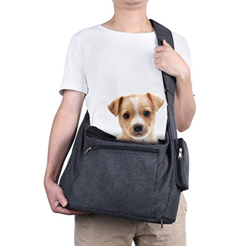 Petacc Pet Dog Sling Carrier with Bottom Bearing Board for Small Dogs Cats up to 10lbs, Hands-Free Pet Puppy Travel Bag with Adjustable Padded Shoulder Strap, Drawstring Opening, Zipper Pocket