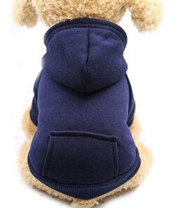 Pet Clothes, Dogs Hooded Sweatshirt with Pocket Fleece Warm Soft Sweater Coat Winter Costume for Puppy Small Medium Dogs (L, Navy Blue)