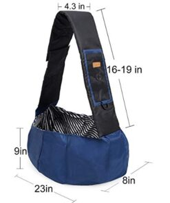 DogLemi Small Dog Cat Carrier Sling Bag Hands Free Pet Puppy Outdoor Travel Bag Adjustable Strap Padded Shoulder Sling Travel Tote Bag (Blue)