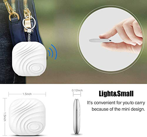 Key Finder Locator (Pack of 2), Smart Bluetooth Item Tracker & Finder Device for Wallet, Phone, Dogs, Cats – Anti-Lost Bidirectional Alarm Reminder – Replaceable Battery, White + Green