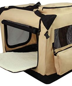 EliteField 3-Door Folding Soft Dog Crate, Indoor & Outdoor Pet Home, Multiple Sizes and Colors Available (36″ L x 24″ W x 28″ H, Beige)