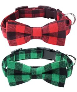 Malier 2 Pack Dog Collar with Bow tie, Christmas Classic Plaid Dog Collar with Light Adjustable Buckle Suitable for Small Medium Large Dogs Cats Pets (Large)