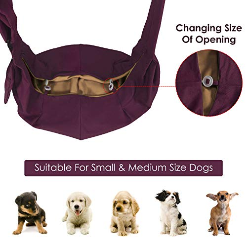 AUTOWT Dog Padded Papoose Sling, Small Pet Sling Carrier Hands Free Carry Adjustable Shoulder Strap Reversible Outdoor Tote Bag with a Pocket Safety Belt Dog Cat Carrying Traveling Subway (Burgundy)
