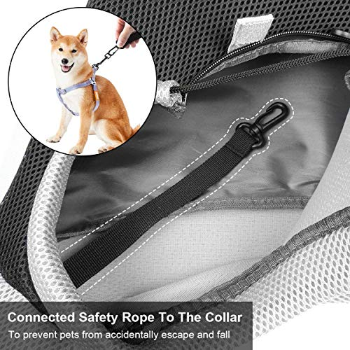 Cuby Pet Sling Carrier for Small Dogs Cats,Drawstring & Zipper & Special Security Hook Triple Designs for Pets' Securty,Breathable Mesh Travel Sling Carrier with Adjustable Shoulder Strap