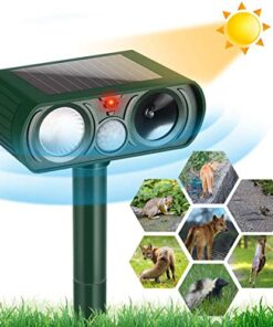 Llfaiww Dog Repellent, Ultrasonic Animal Repellent with Motion Sensor and Flashing Lights Outdoor Solar Powered Waterproof Farm Garden Yard Repellent, Cats, Dogs, Foxes, Birds,Rod,Chipmunk,Deer