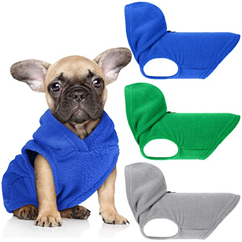 3 Pieces Dog Fleece Hoodie Puppy Fleece Pullover Dog Fleece Vest Sweatshirt Dog Apparel Winter Dog Clothes with Leash Ring for Small Medium Dogs (S, Green, Dark Blue, Gray)