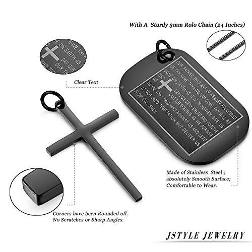 Jstyle Stainless Steel Dog Tags Cross Necklaces for Men Prayer Cross Necklace Military Rolo Chain 3mm 24 Inch Black Bible Prayer