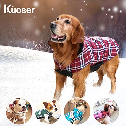 Kuoser Dog Coats Dog Jackets Waterproof Coats for Dogs Windproof Cold Weather Coats Small Medium Large Dog Clothes Reversible British Style Plaid Dog Sweaters Pets Apparel Winter Vest for Dog Red XL